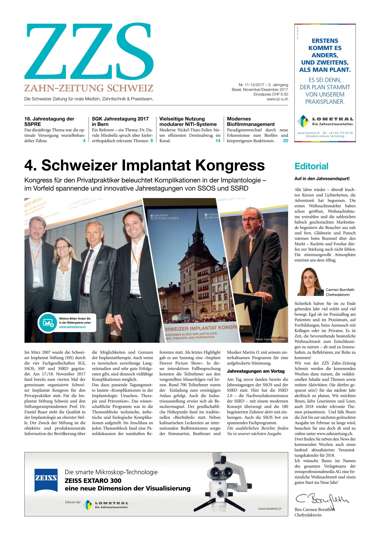 ZZS 11-12/2017 - Zahn Zeitung Schweiz